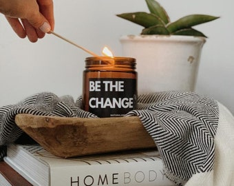 Black Lives Matter-Be The Change CHILI PEPPER & MANDARIN Soy Candle 9oz | Hand Made Gift | Black Owned Gifts