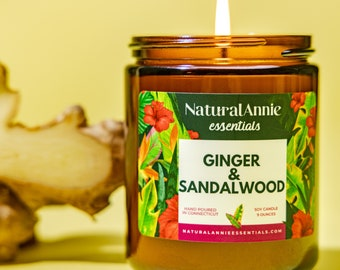 GINGER & SANDALWOOD Hand Poured Scented Soy Candle 4 oz or 9 oz  Relaxing Grounding scent
