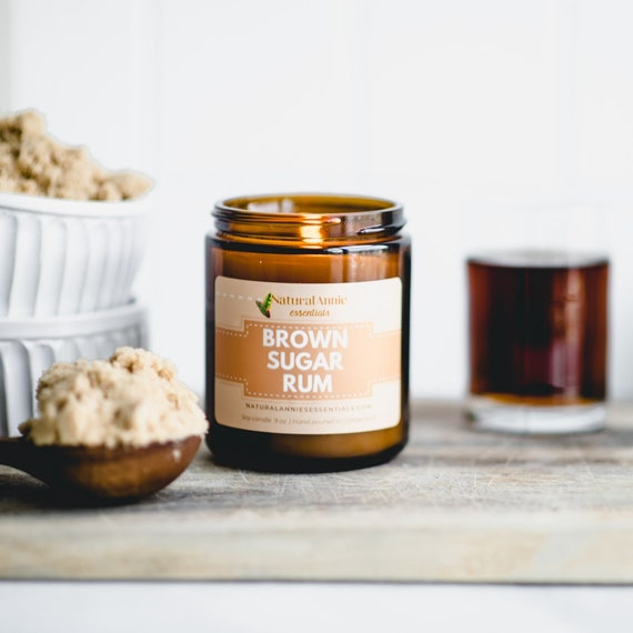 BROWN SUGAR RUM Scented Soy Candle 4 oz or 9 oz  Cozy
