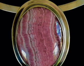 Rhodochrosite and Sterling Silver Pin/Pendant