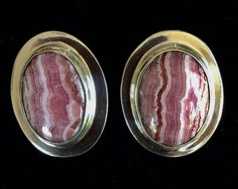 Rhodochrosite and Sterling Silver Post Earrings