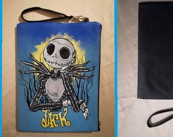 "Bag or wrist bag in black faux leather ""Jack"" from Nightmare before Christmas"