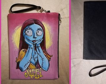 "Bag or wrist bag in black faux leather ""Sally"" from Nightmare before Christmas"