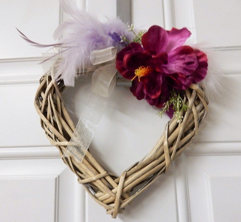 Willow Heart Wreath Woven Heart Wreath Window Decoration Cottage Decor Deep Pink Floral Shabby Chic Wreath Nursing Home Door