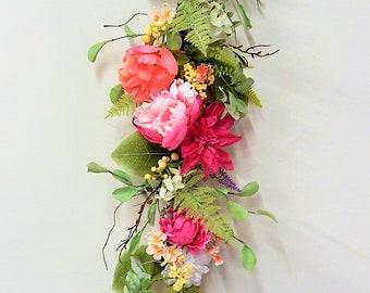 Flowering Teardrop Wreath Pink and Peach Tear Drop Wreath Front Door Wreath Interior Wreath Door Wreath Wall Wreath Sunroom Decor
