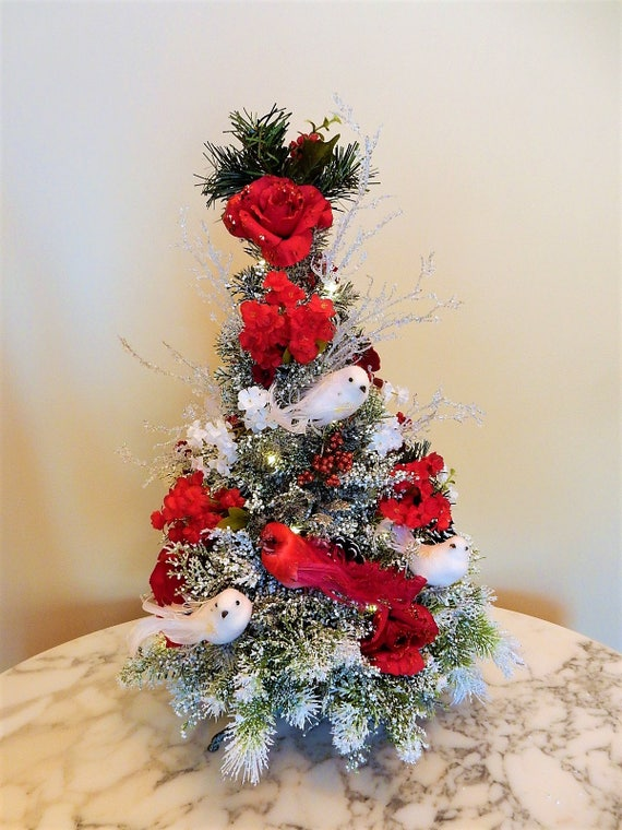 Christmas Table Tree Lighted Red White Rose Tree Christmas Etsy