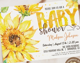 Sunflower Baby Shower Invitation, Yellow Floral printable invite | INSTANT DOWNLOAD | editable digital file, Corjl, sf1