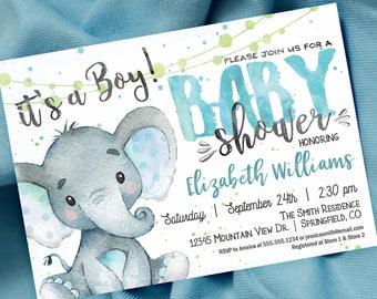 Rustic Baby Shower Invitation Boy Elephant Printable Invite Etsy