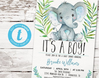 Boy Elephant Baby Shower Invitation, printable invite   INSTANT DOWNLOAD   editable digital file, Templett