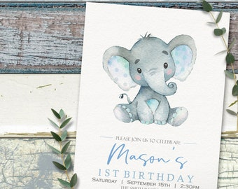 Elephant Birthday Invitation Boy Modern Printable Invite INSTANT DOWNLOAD Editable Digital File