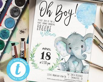 Elephant Baby Shower Invitation Boy, printable invite   INSTANT DOWNLOAD   editable digital file, Templett, 01h