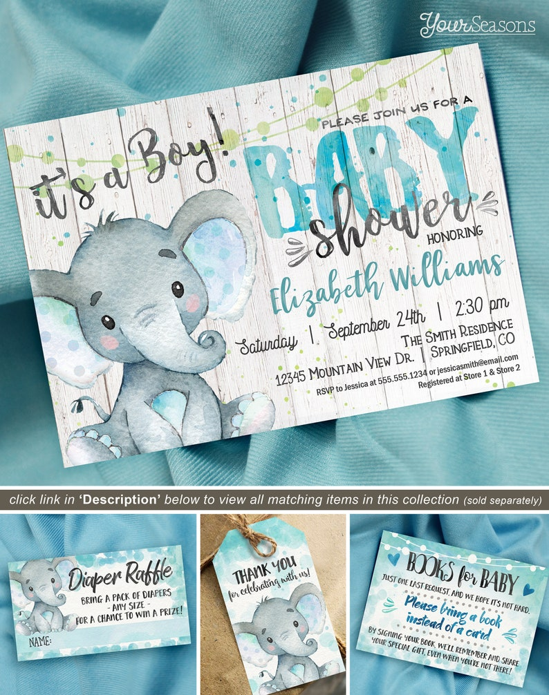 picture relating to Etsy Printable Invitations titled Rustic Boy or girl Shower Invitation Boy Elephant printable invite, Immediate Obtain, editable electronic document, 01h