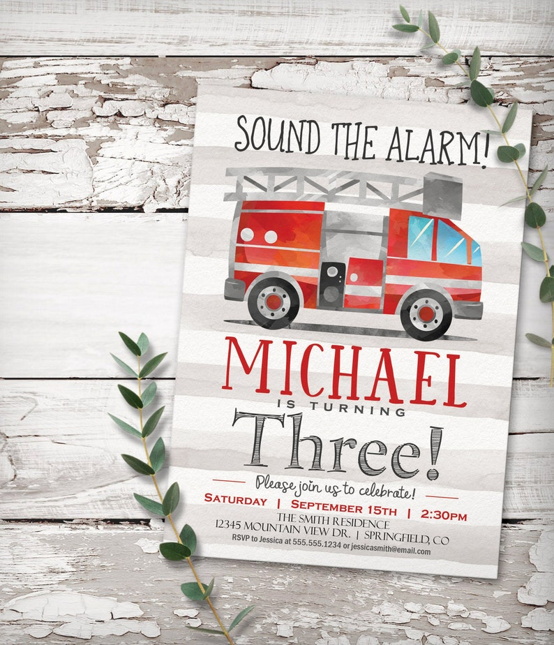 Fire Truck Birthday Invitation, printable invite, INSTANT DOWNLOAD,  editable digital file