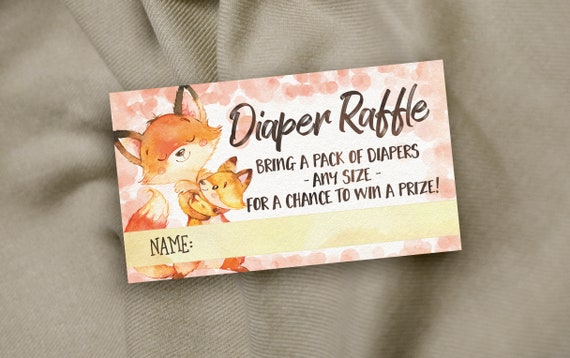 fox diaper raffle ticket insert card boy baby shower etsy