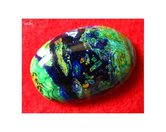Azurite Cabochon - High Grade Complex Patterns Gemstone - 38cts. - Hard African Cab w/ Malachite Chrysocolla