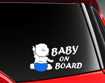 "Twins on Board Baby on Board different diaper color decal Die Cut sticker 7.5/""W"