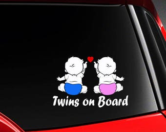 ORIGINAL Twins on Board Decal Baby on Board Car Sticker 6x5 Color Options