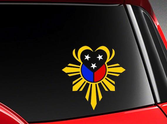 "Filipino Vinyl Car Decal Sticker  5/"" w// Unique Heart Philippine Flag design H"