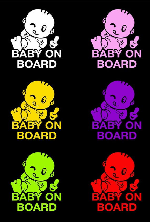 "Cute cartoon baby Vinyl Car Decal Sticker 6.5/"" h Baby on Board"