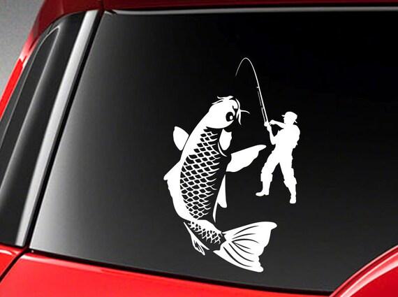 "Fish Fishing Vinyl Car Decal Sticker 8/"" height"