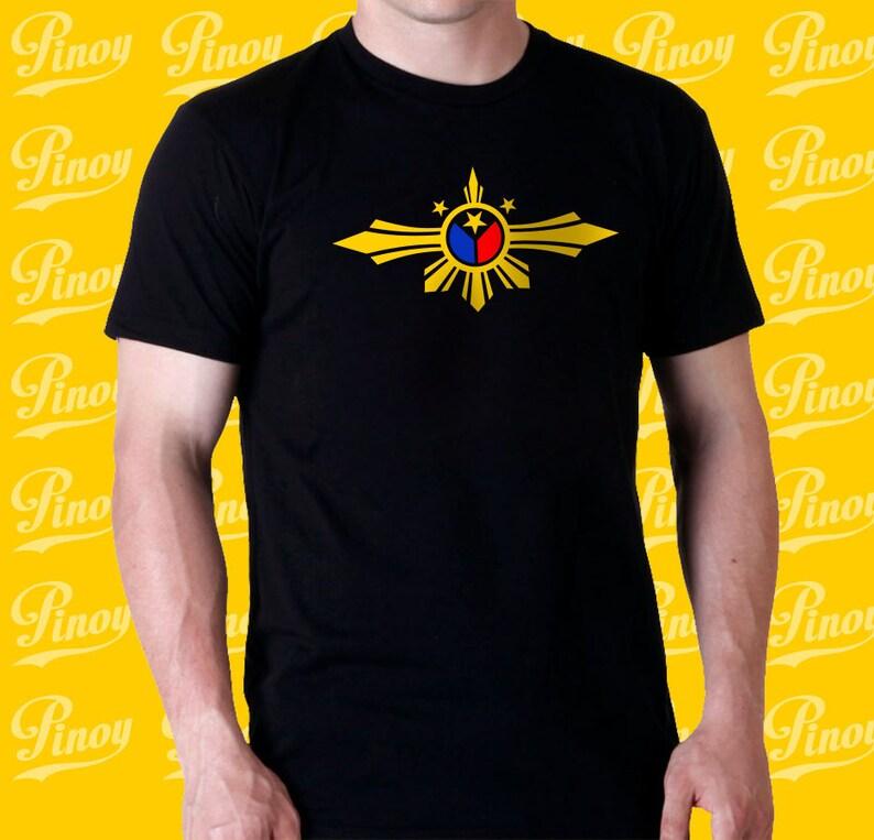 61c76aeaa47ea Filipino 100% black t-shirt with Unique Philippine Flag design