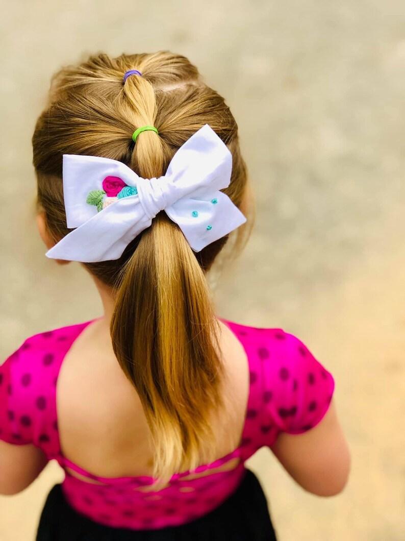 baby hair bow girls hair bow pinwheel bow floral hair bow Floral handtied bow custom hair bow hair bow embroidered hair bow
