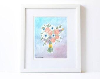 Original watercolor, custom wedding bouquet ,Custom Wedding Bouquet, Bridal bouquet , custom bouquet,custom wedding gift,anniversary gift