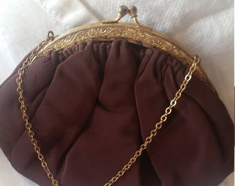 Vintage 1940s burgundy Garwood evening bag