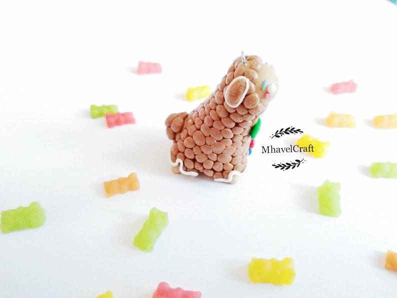 alpaca lovers cookie winter lovers gift Alpaca keychain gingerbread alpaca polymer clay christmas tree ornament kawaii alpaca