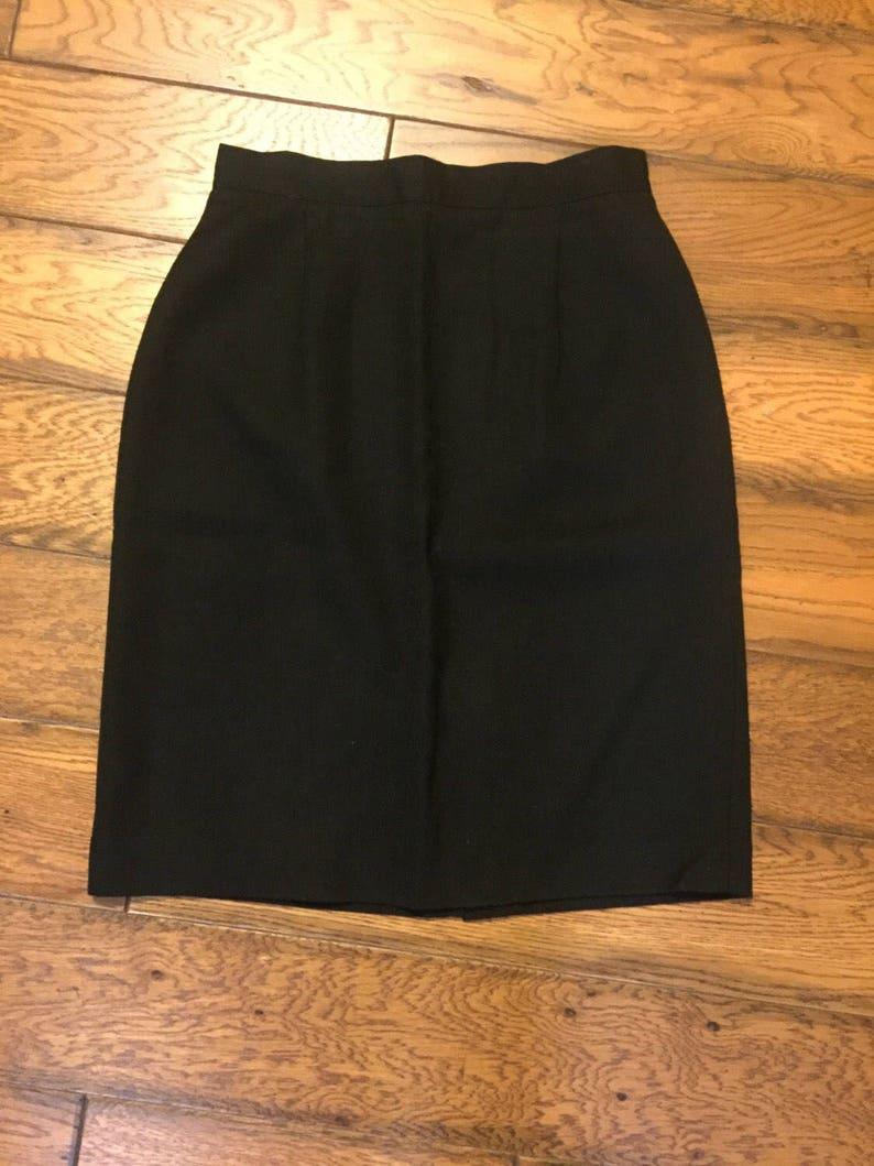 Vintage A-line Basic Black Wool Skirt
