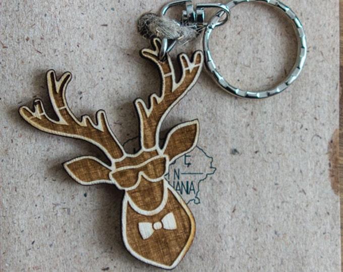 Laser cut deer keychain | Wooden keychain | Animal keychain | Handmade wooden keychain | Chistmas themed keychain