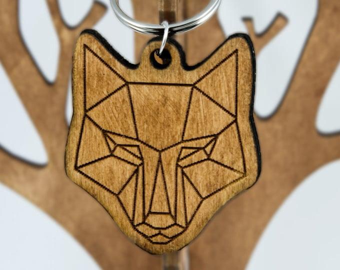 Fox keychain | Animal keychain | Polygonal keychain | Handmade modern keychain | Wooden keychain | Engraved keychain | Anniversary gift