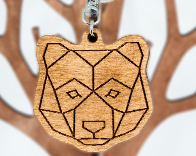 Bear keychain | Christmas gift idea | Wooden keychain | Handmade keychain | Minimalist Christmas gift | Animal keychain | Artistic keychain