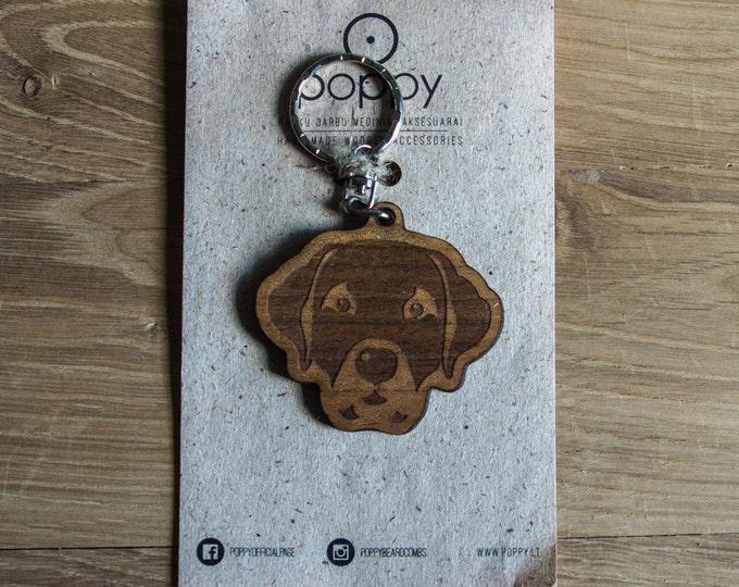 Wooden Keychain, Dog keychain, Handmade keychain, Wood keychain, Animal keychain, Dog key ring, Basset dog keychain