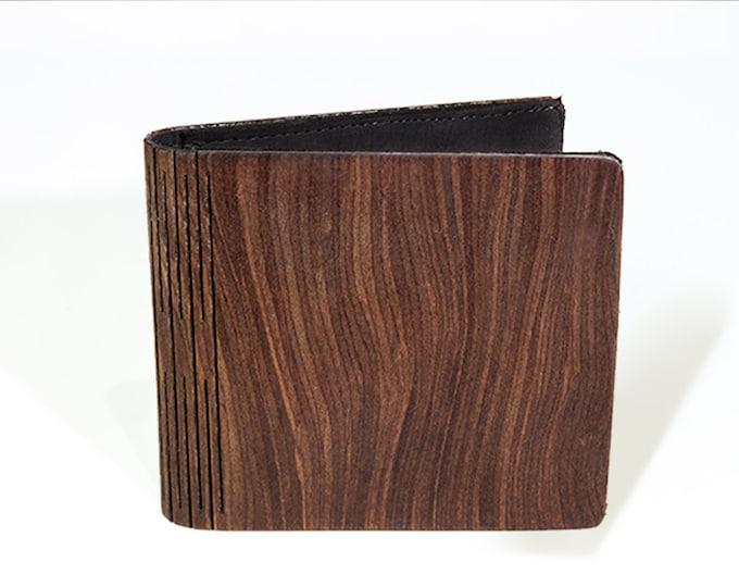 Amaranth root wooden wallet | Handmade wooden wallet | Mens brown wallet | Anniversary gift | Minimalist wood wallet | Laser cut wood wallet