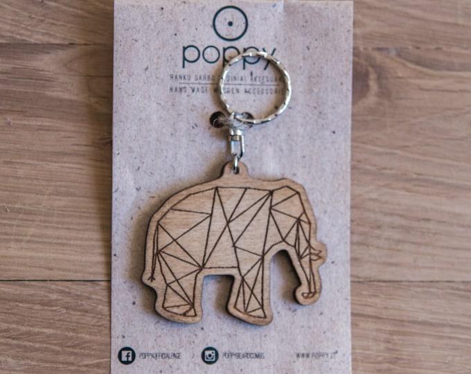 Wooden keychain, Elephan keychain, Animal keychain, Wood keychain, Exotic keychain, Handmade key ring, Handmade keychain, Modern keychain