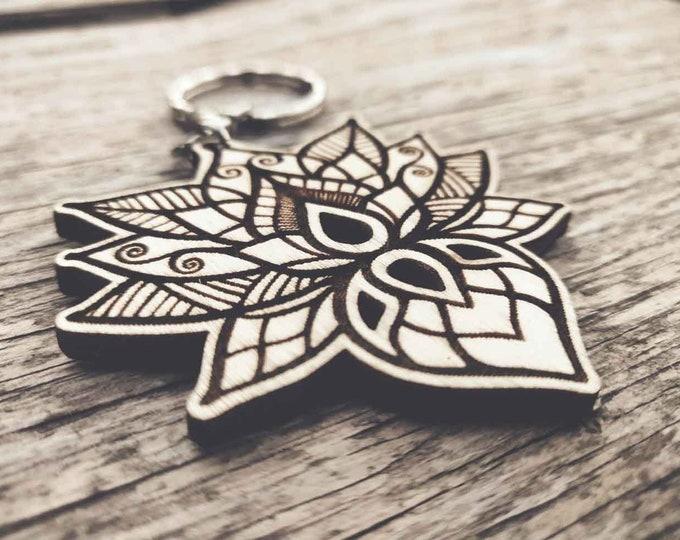 Laser cut wooden keychain | Lotus flower keychain | Engraved keychain | Wooden keychain | Wood lotus keychain | Aesthetic keychain