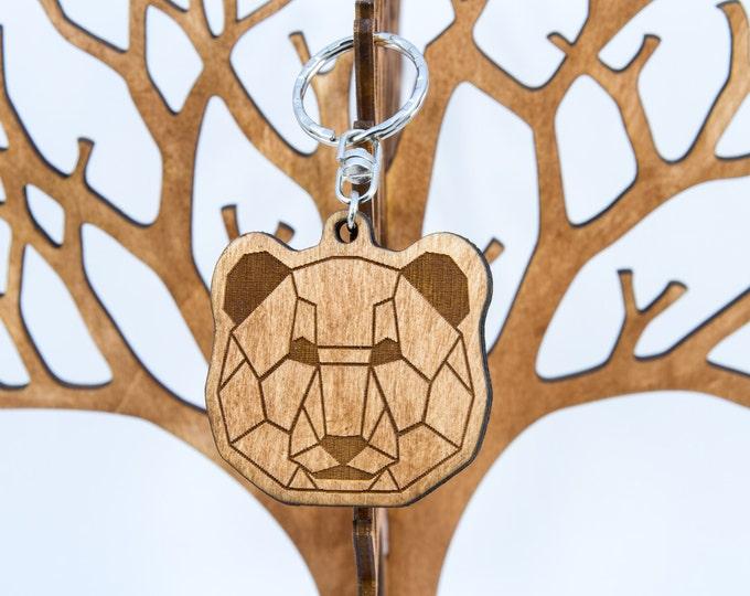 Panda bear keychain | Wooden keychain | Polygonal keychain | Handmade wood keychain | Anniversary gift | Animal keychain | Artistic keychain