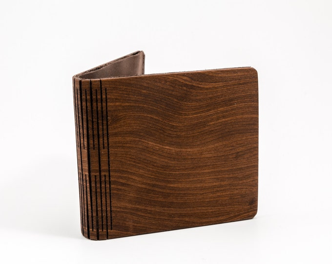 Wooden wallet   Amaranth root wallet   Horizontal pattern wood wallet   Mens wallet   Brown wooden wallet   Anniversary gift   Gift for him