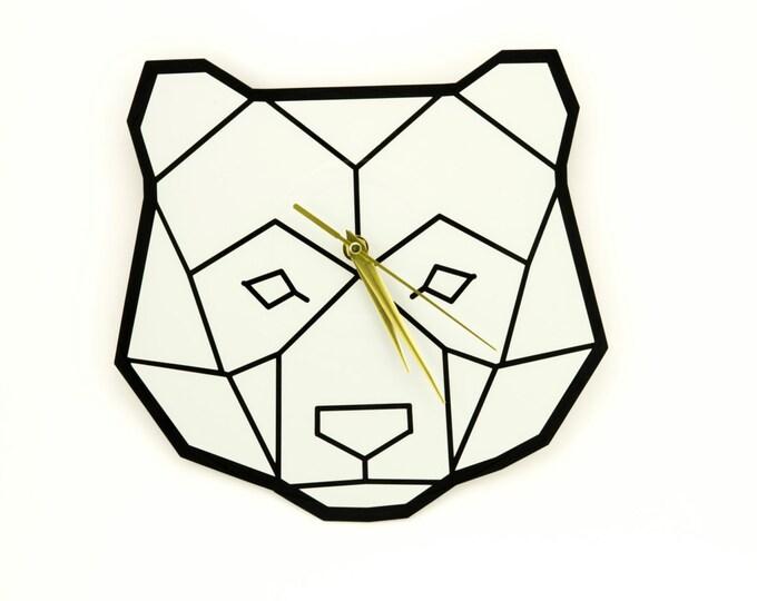 Vinyl clock | Polygonal animal clock | Vinyl record clock | Wall clock | Bear wall clock | Black and white vinyl clock | Modern home decor