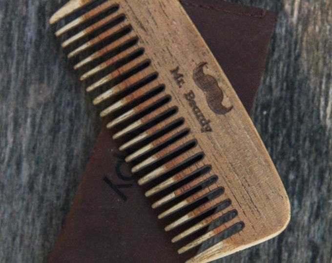 Wooden Beard Comb | Mr. Beardy Large Custom Comb | Handmade Beard Comb | Personalized Pocket Comb | Wooden Beard Brush,  christmas gift