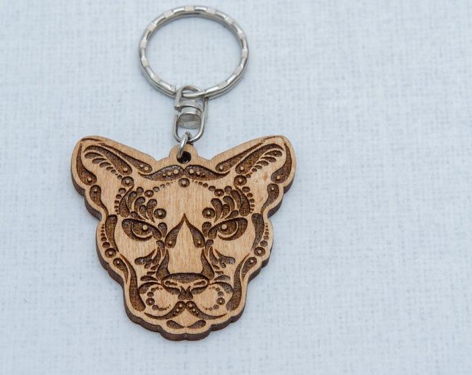 Wooden keychain | Leopard keychain | Laser engraved keychain | Detailed animal keychain | Eco friendly keychain | Key decor keyring