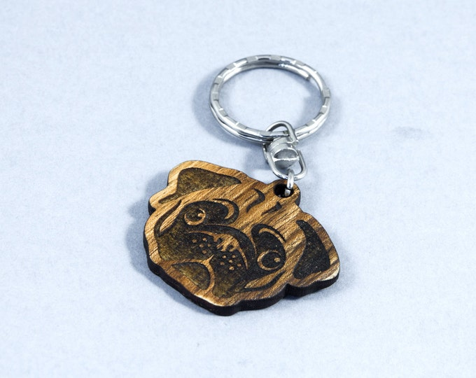 Wooden pug | Dog ID tag | Wooden pet ID tag | Handmade dog tag | Pug dog breed