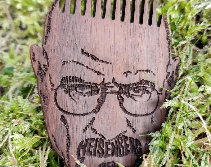 Breaking Bad Heisenberg Themed Wooden Beard Comb - Pocket Beard Comb - Handmade Wooden Beard Brush - Beard Care -Christmas Gift -Beard Brush