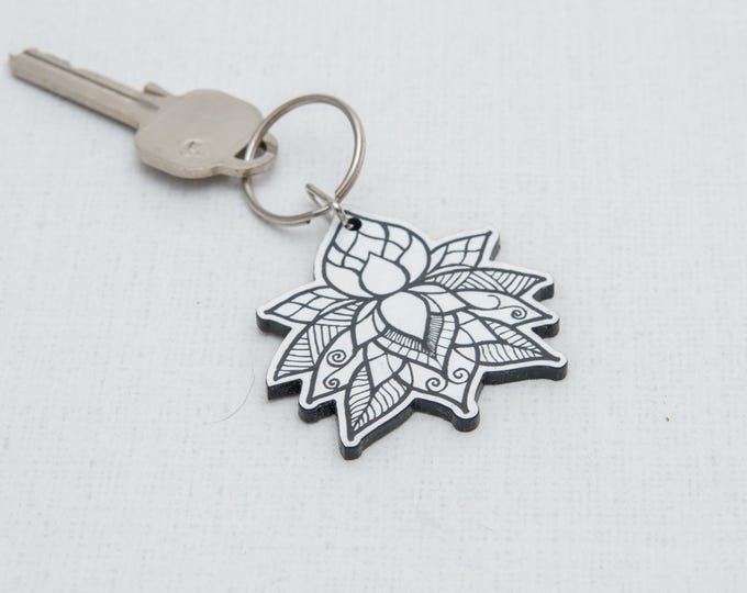 Lotus flower keychain   Laser engraved keychain   Plastic keychain   Asthetic keychain   Laser cut keychain   Key decor   Graphic keychain
