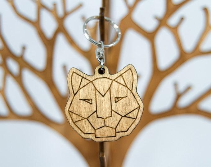 Cat keychain | Wooden keychain | Artistic keychain | Modern polygonal keychain | Handmade wood keychain | Anniversary gift | Modern keychain