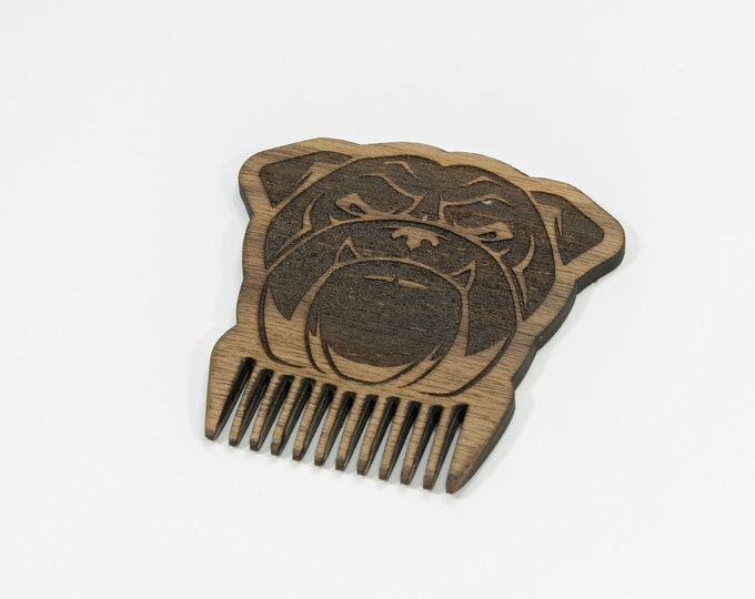 Bulldog beard comb | Handmade wooden beard comb | Wooden dog comb | Animal beard comb | Bulldog comb | Dog beard brush | Groomsmen gift