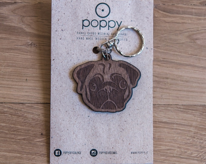 Pug wooden keychain, Pugs wooden keychain, Wood keychain, Dog wooden keychain, Animal wooden keychain, Handmade keychain, Dog keychain