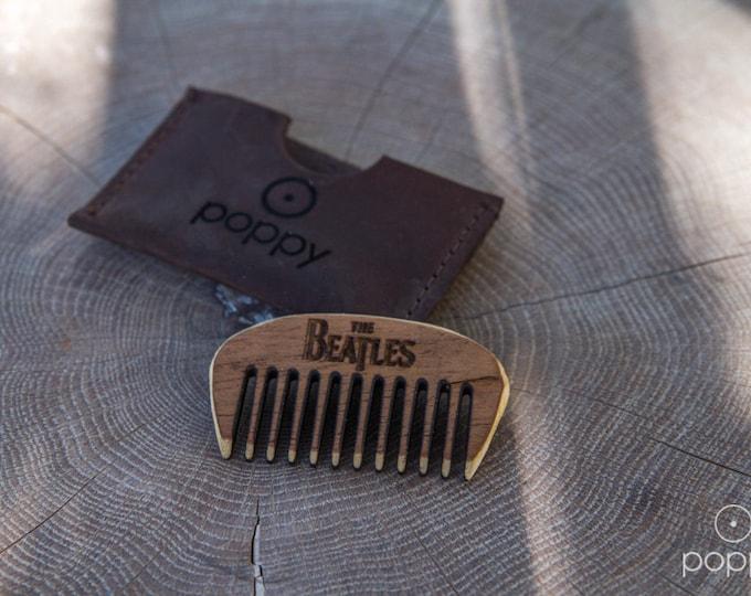 Handmade Wooden Beard Comb - The Beatles Mini Beard Comb - Pocket Beard Comb - Wooden Beard Brush - Beard Care-Father's Day Gift-Beard Brush