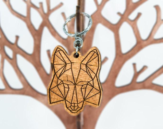 Fox keychain | Polygonal keychain | Animal keychain | Christmas gift idea | Handmade keychain | Wooden keychain | Anniversary gift